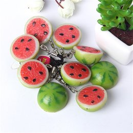 Wholesale Wholesale Fruit Scale - Brand New Scale Watermelon piece Keychain Resin fruit Key Ring For Purse Bag Car Party Wedding Gift Collection