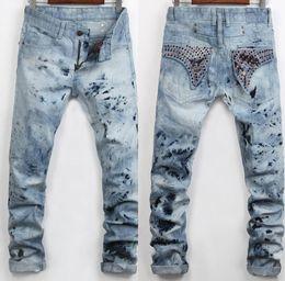 Wholesale organic decorations - Men Straight Jeans Classic Denim Trousers 2017 Robin Jeans For Men High Quality Cotton Jeans Fried Snow Slim Jean Rhinestone Decoration