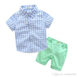 Wholesale Baby Boy Shorts Plaid Pants - Kids Boys Sets 2017 New Summer Baby Boy Plaid Print Shirt + Short Pants 2pcs Outfits Children Suits Fancy Children Clothes S003