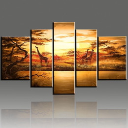 Wholesale Forest Hand Painted - Hand-Painted Wall Art African Forest Giraffes Quadros De Parede Sala Estar Modern Hand Painted Oil Painting On Canvas 5pcs Set