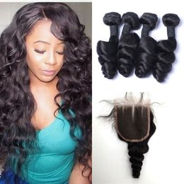 Wholesale Easy Weave - Loose Wave Human Hair Wefts With Closure 5pcs Lot Virgin Peruvian Wavy Free Part Lace Closure With 4 Bundles G-EASY