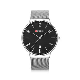 Wholesale Wrist Wach - 2017 CURREN Fashion Wach Wrist Male Watches Men Date Quartz Watch Stainless Steel Mesh Strap Ultra thin Dial Clock Man Business Wristwatches