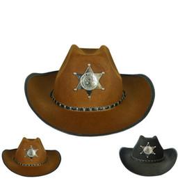 antiguo occidental Rebajas Estrella de cinco puntas sombrero de vaquero Retro American Western Antique Knight Cap Bowler Fedora Cap Sombreros de Halloween Cosplay OOA2743
