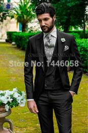 Wholesale Italian Jackets For Men - Wholesale- New Arrival Fashion Wedding Suits For Men Italian Design Mens Black Suits Jacket Pants Vest Formal Dress Wedding Groom Tuxedos