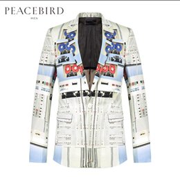 Wholesale Newspaper Sleeves - Wholesale- Spring New Men Slim fashion personality suit cotton slim suit civies outer Newspaper printing Blazers coat singer stage costumes