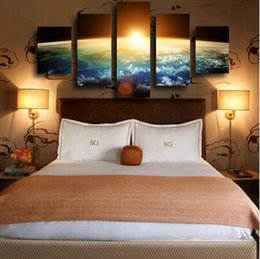 Wholesale Sunrise Canvas Painting - 2017 The Christmas Gift5 Piece Hot Sell Sunrise Modern Home Wall Decor Canvas picture Art HD Print Painting Set of 5 Each