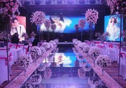 plaques d'immatriculation Promotion Nouvelle arrivée 1m / 1.2m de large brillant mariage centres de table Decor Runner allée argent / or miroir en plastique tapis livraison gratuite MYY