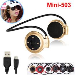 Wholesale Mini Ear Radio - Mini503 Wireless Headphones Bluetooth Mini 503 Sport Music Stereo Earphones + Micro SD Card Slot + FM Radio For iPhone Sumsung cell phone