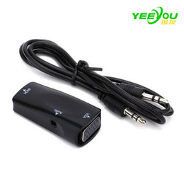 Wholesale Hdmi Converter For Vga - Hot HDMI to VGA Video Converter with Audio Cable Adapter For Xbox 360 PS3 PC360 DHL free shipping