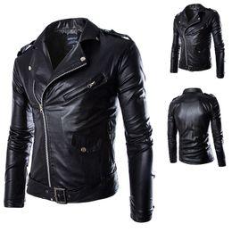 Wholesale Leather Jacket Men Wholesale - POP!2017 Men Cool Leather Jacket Fashion Motorcycle style Handsome slim outerwear long sleeve leathers coats plus size lapel neck NEW