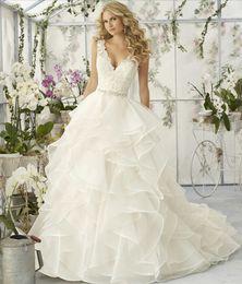 Wholesale Empire Bridal Veils - 2017 Vintage Wedding Dress Deep V-neck Sexy Bridal Gowns Elegant Spaghetti Wave Details Tiered Skirts Best Wedding Dresses +Free Veils