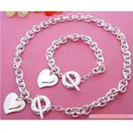 Wholesale Christmas Necklace Set Love - Retail lowest price Christmas gift 925 silver love Necklace+Bracelet set