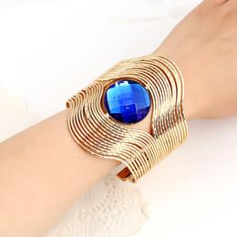 Wholesale Bracelet Ring Gemstone - Imitation Gemstone Wide Hollow Out Bracelets Vintage Wide Open Bangles New 2016 Luxury Fashion Women Jewelry