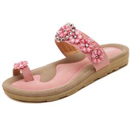 Wholesale Beaded Flip Flop Slippers - Plus Size 35-41 Women Slippers Bohemia Beaded Floral Comfortable Flat Heel Sandals Summer Rhinestone Sandals Size35-41