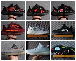 Wholesale Flower Lower - Boost 350 V2 Flowers Floral Graffiti Calabasas Kaws Customs Blue Zebra Woman Mens Running Shoes Kanye West Sply 350 Fashion Run Shoe Sneaker