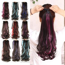 Wholesale Girls Hair Extension Clips - Wholesale- Women's Girls' Ribbon Band type big wavy curly hair Synthetic Hair Ponytails Fashion Hairpience Clip in hair extension