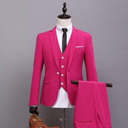 Wholesale Pink Tuxedo Vests - (Jacket+Pants+Vest+Tie) New Fashion Hot Pink Men Suit Spring Autumn Personality Casual Slim Fit Prom Groom Party Wedding Suits