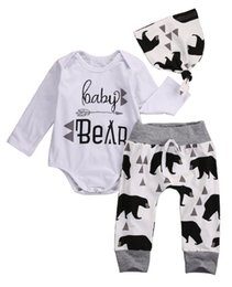 Wholesale Boys Outfits Sets - Baby Clothes Little Boy Romper Set Toddler White Clothing Infant Boys Outfit Long Sleeve Harem Bear Printed Pants Hats Next Kids Children Co