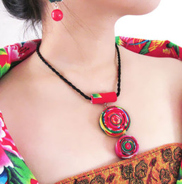 Wholesale Wholesale Ethnic Fabric Prints - Wholesale-Pure Handmade Exotic Jewelry colorful statement fabric prints flowers necklace,New Ethnic Chinese wind round pendants necklace