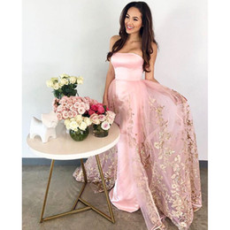Wholesale Natural Overlay - Golden Flower Applique Prom Dresses With Overlay-Skirt Pink Strapless Floor Length Satin Party Dress Glamorous Formal Wear Evening Dress