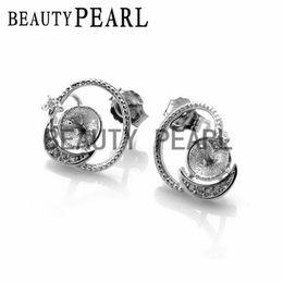 Wholesale Piercing Bulk - Bulk of 3 Pairs Star Moon 925 Sterling Silver Zircon Pierced Stud Earring DIY Jewellery Findings