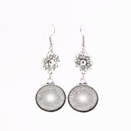 Wholesale Bell Flower Earring - SWEET BELL 12pcs lot Metal Alloy Zinc Flower Charm Fit round 20mm Cabochon Set Pendant Drop Earing Jewelry Making C0825