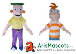 trajes de mascote de tamanho infantil Desconto AM0635 Adulto Tamanho Phineas e Ferb Mascot costume Trajes Da Mascote Dos Desenhos Animados para Crianças Festa de Aniversário Personalizado Mascotes em Arismascots Character