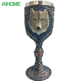 Wholesale Russia Antique - Double Wall Stainless Steel 3D Wolf Head Mugs Coffee Beer Cup Mug Animal Wolf King Drinking Cup Halloween Festival Russia