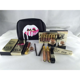Wholesale Box Cartoons - Kylie Makeup Bag Gift Box Golden Box Gloss Suits Holiday Collection Cosmetics Birthday Bundle Bronze Kyliner Kylie Jenner Brow Brush