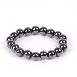 Wholesale Indian Beads - Women Black 6 8 10 Cool Magnetic Bracelet Beads Hematite Stone Therapy Health Care Magnet Hematite Beads Bracelet Men's Jewelry