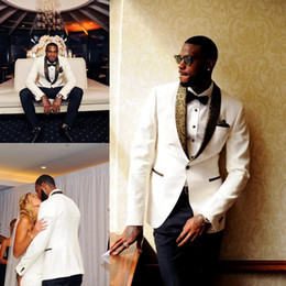 Wholesale Gold 64 - Handsome White Wedding Tuxedos Slim Fit Gold Pattern Laple Suits For Men Cheap One Button Groom Suit Only The Jacket And Handkerchief