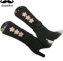 Wholesale Hot Winter Thick Socks - Wholesale- Hot New Winter Leg Warmers for Women Knitted Thick Rhinestone Letter Leg Warmers Warm Gaiters Solid Boot Cuff Black Socking