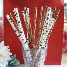 Wholesale Straw Animals Designs - Wholesale- hign quality 125pcs Animal print design Paper Straw Drinking Straws Birthday Party Wedding Decoration Eco-friendly
