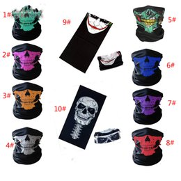 Wholesale Biker Bandanas - Skull Half Face Mask Scarf Bandana Bike Motorcycle Scarves Scarf Neck Face Mask Cycling Cosplay Ski Biker Bandanas 10 color
