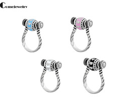 Wholesale Tension Lover - Screw Finger Ring Big Hole Bead Flower Heart Horseshoe Shape Mixed Color Steampunk Stainless Steel Jewelry Findings For Lovers Free ship