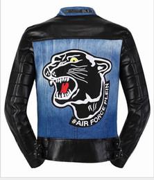 Wholesale Leopard Fur Button Jacket - 2016 men skull fashion brand luxury PU leather coat tiger black jacket