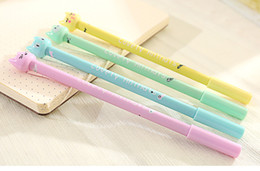 Wholesale Candy Gift Animal - Wholesale-4Pcs set Kawaii animals Gel Pen Kawaii candy color cat Stationery Gifts Office Material School Supplies Stationery
