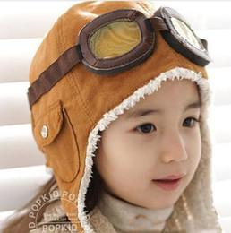 Wholesale Ear Force - 2017 New Hot Cute Baby Boy Kids Pilot Aviator Cap Warm Hats Earflap Beanie Ear muff cap air force cap Warm