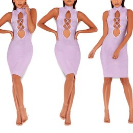 Wholesale Cheongsam Mini Skirt - 2017 Latest Design Purple Bandage Skirt And Sexy Sleeveless Hollowed Out Round Neck Cheongsam midi Dress
