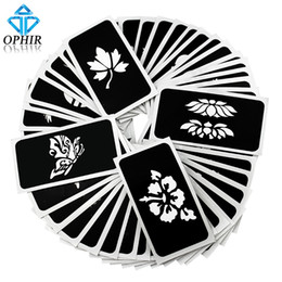 Wholesale Body Glitter Kits - Wholesale-OPHIR 50 PCS Airbrush Stencils (5 series) for Body Painting Glitter Temporary Tattoo Tattoo Henna Template Sheets _TA032(A-E)