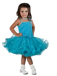 Wholesale Lovely Cute Girl Photos - 2016 Cupcakes Girl Pageant Dresses Lovely Little Girls Halter Crystal Beaded Mini Short Cute Organza Tutu Pageant Dresses