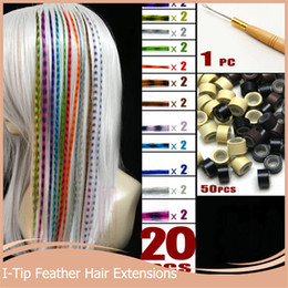 Wholesale Hair Extension Beads Synthetic - Wholesale-20pcs lot + 50 Beads+1 pc Hooked Needles 16''40cm Long Grizzly Hair Extensions Multicolor Feather Synthetic Hairpiece