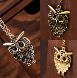 Wholesale rope necklaces materials - Fashion Neaklace with owl pendant, Sweater necklace, Alloy Material, not Fade, Comfortable, High Quality and Free Shipping