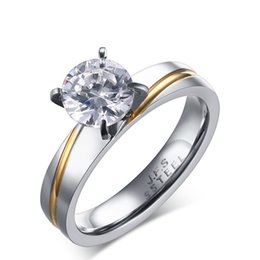 Wholesale Eternity 316l - Meaeguet Women's Rings Wedding Engagement Eternity Rings for Women 316L Stainless Steel Love Promise Round Cut CZ Ring anillos RC-238