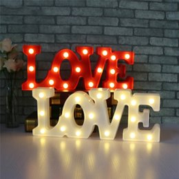 Wholesale Led Love Sign - Romantic Wedding Party LED Night Light Sign 3D Big LOVE Marquee USB And Battery Operated Luminaria Desk Lamp For Lover's Gift Wedding Decor