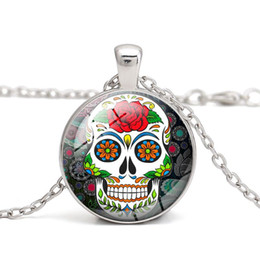 Wholesale Skull Necklace Men - Sugar Skull Glass Cabochon Dome Skeleton Pendant Necklace Women Jewelry Wholesale Halloween Gift for Men Accessory