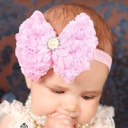Wholesale Artificial Diamond Flowers - newborn baby head band Chiffon big bow Pearl artificial diamond hairbands girls hair flower accessories 10color high quality hot sale
