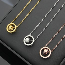 Wholesale Double Rose Rings - Titanium steel jewelry wholesale size double ring necklace couple rose gold lovers necklace rose gold pendant wholesale fashion jewelry