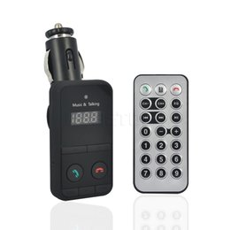 Wholesale Remote Control Car Watch - Wholesale- Bluetooth Hand Free Car Kit MP3 Mucsic Player Wireless FM Transmitter Radio Modulator With USB TF SD Card Slot + Remote Control