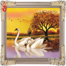 Wholesale Cross Stitch Kit Swans - YGS-40 DIY 5D Fly together Always be in love Soulmate Swan Love each other Kit Round Diamond Painting Cross Stitch Home Decor